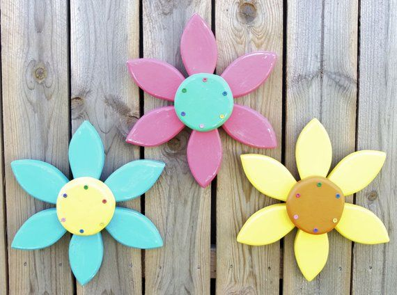 Outdoor Flower Wall Decor Choose Your Colors Wooden Flower Wood