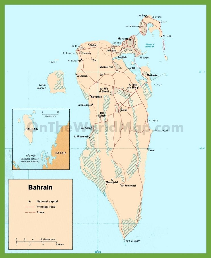 Road map of bahrain maps pinterest road map of bahrain gumiabroncs Image collections