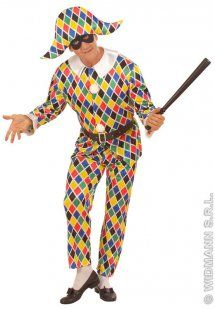 fa4a148913970 Traditional Harlequin Clown Adult Fancy Dress Costume [AJ05779A] : Karnival  Costumes