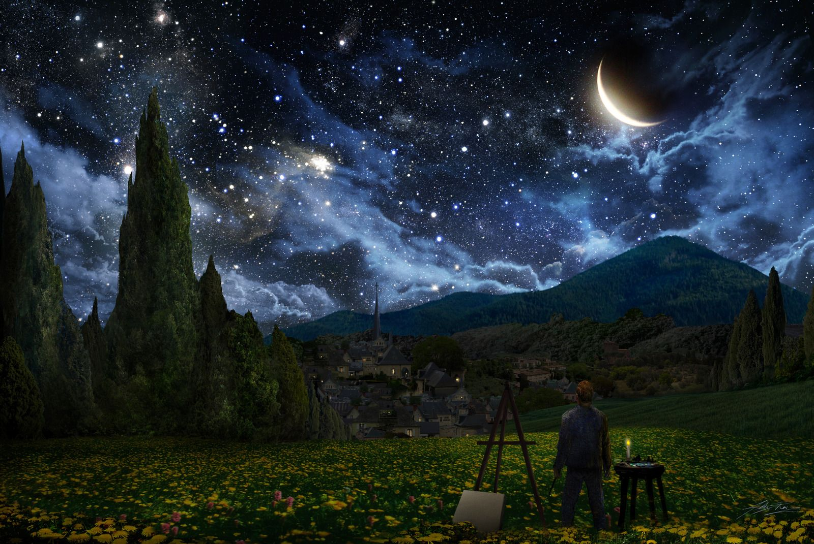 Awesome Sight Of The Night Sky With Stars Moon Clouds