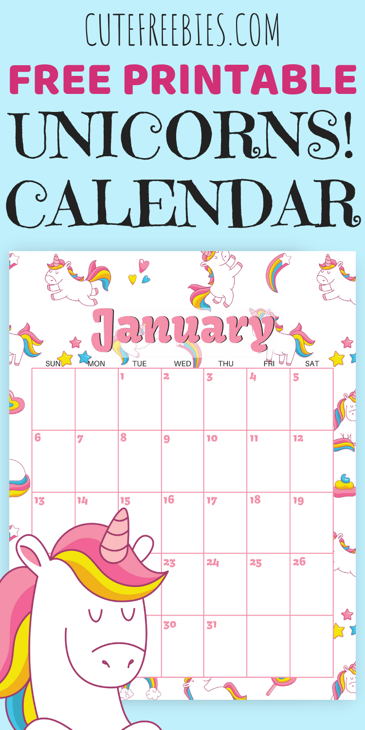 Cute Unicorn 2019 Calendar Free Printable Kids Printables