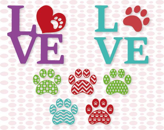 Download Patterned Paw Print Love designs SVG DXF EPS por ...