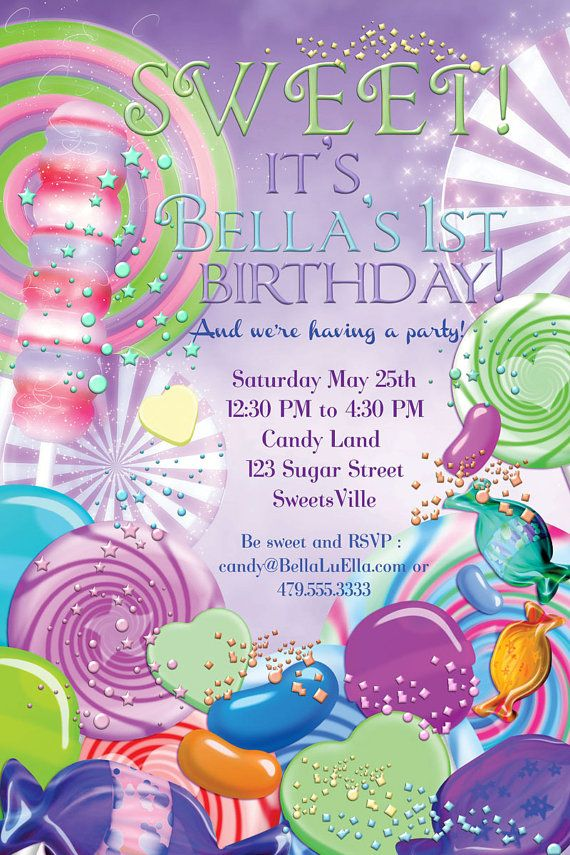 CandyLand Birthday Party Invitation Party by BellaLuElla on Etsy ...