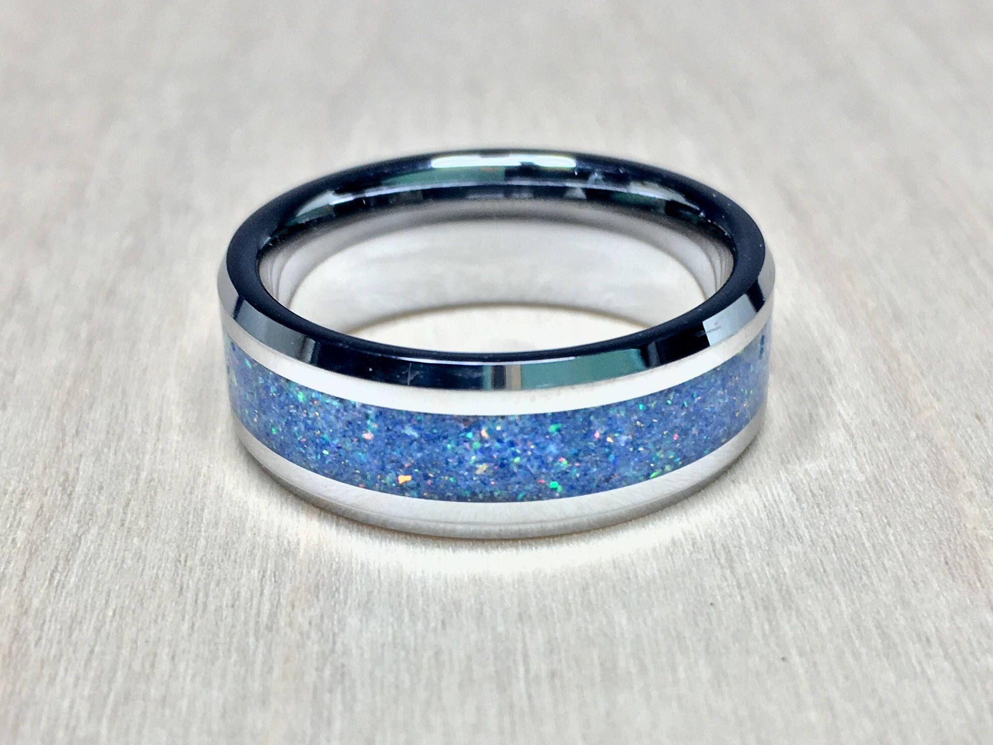 TempestRings White opal ring, Men's wedding ring