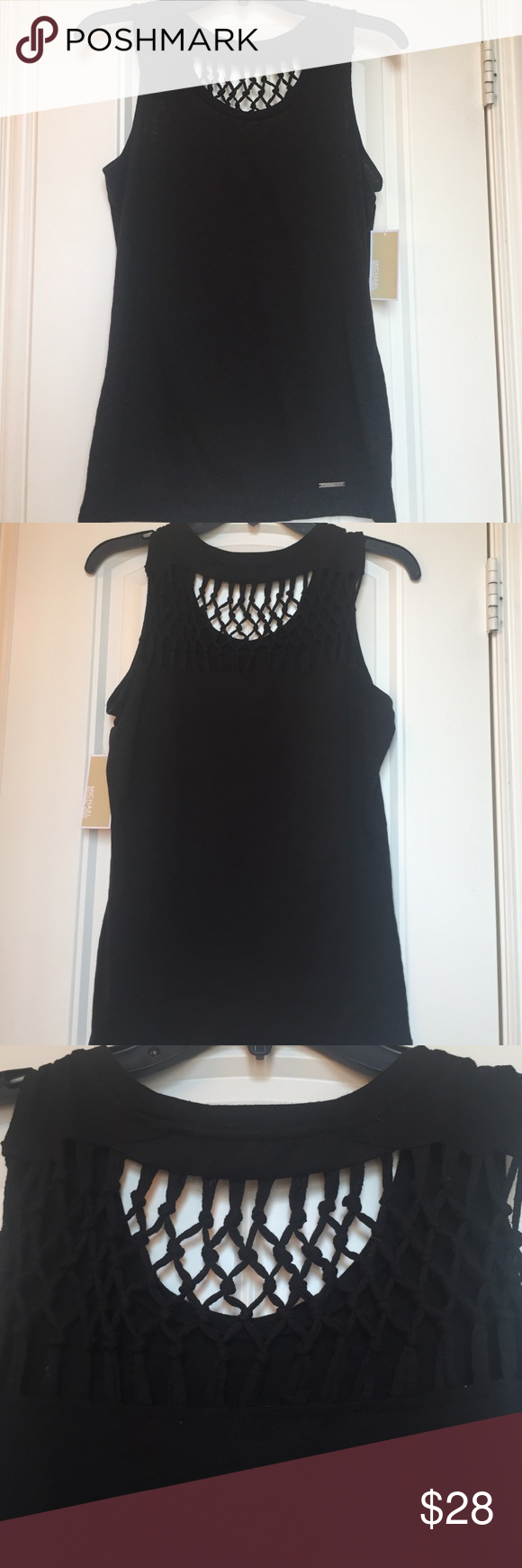 🆕 Michael Kors Top Black Michael Kors top with braided back yoke!! 60% cotton 40% polyester Michael Kors Tops Tank Tops