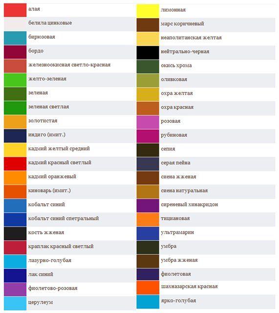 Названия цветов таблица