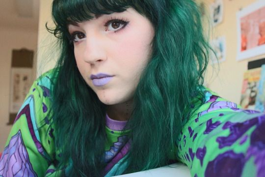 Manic Panic Green Envy Dyed Over Medium Brown Hair Green