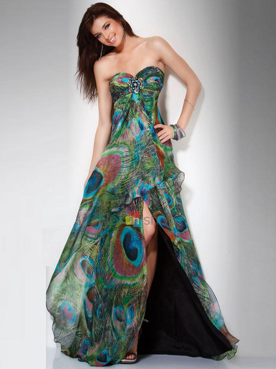 08ca1c2b3a An Empire Peacock Printed Prom Dress   SD1001    219.99