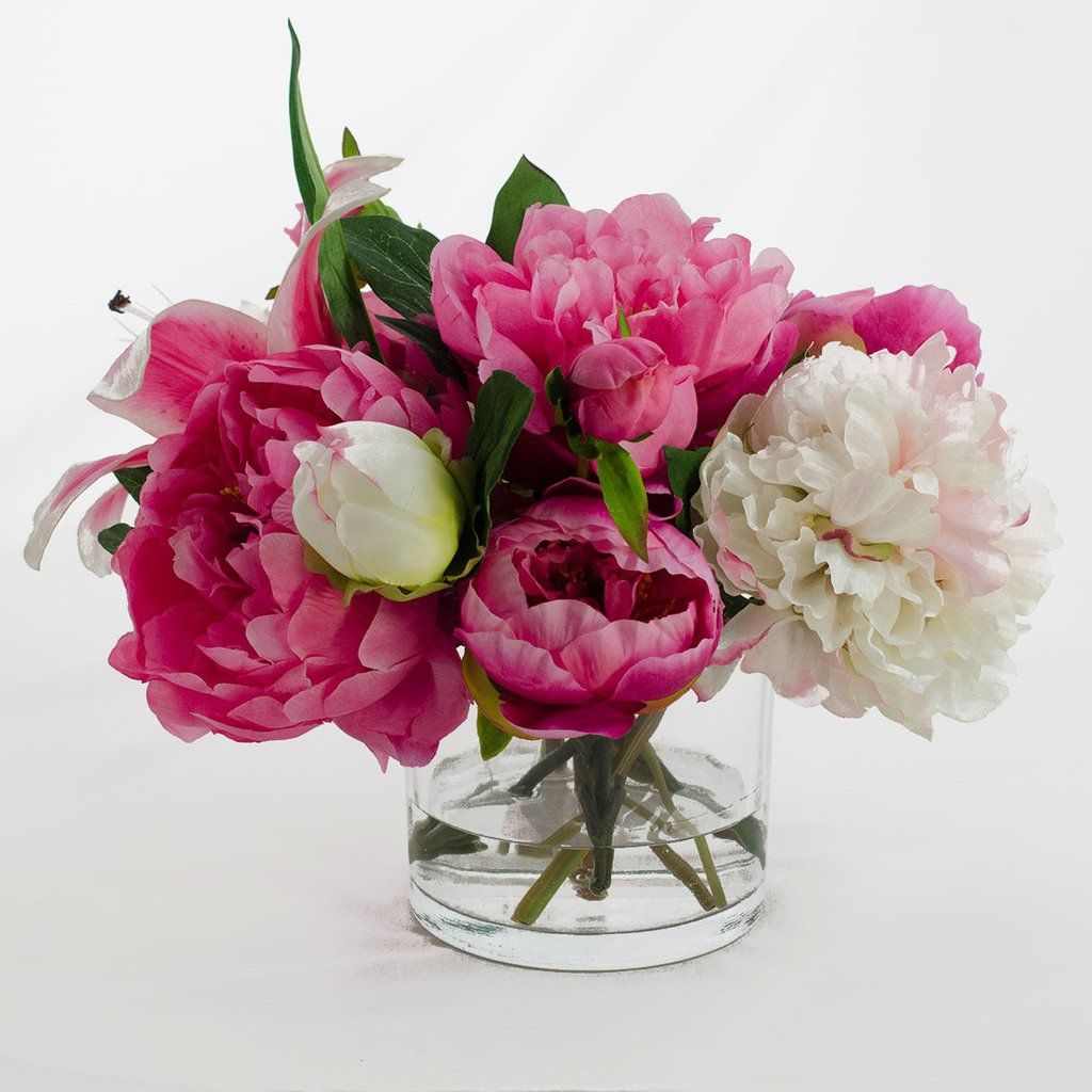 Silk pink peonies casablanca lily fuchsia arrangement afloral silk peonies arrangement with casablanca lily fuchsia pink peonies silk flowers artificial faux in glass vase for home decor mightylinksfo