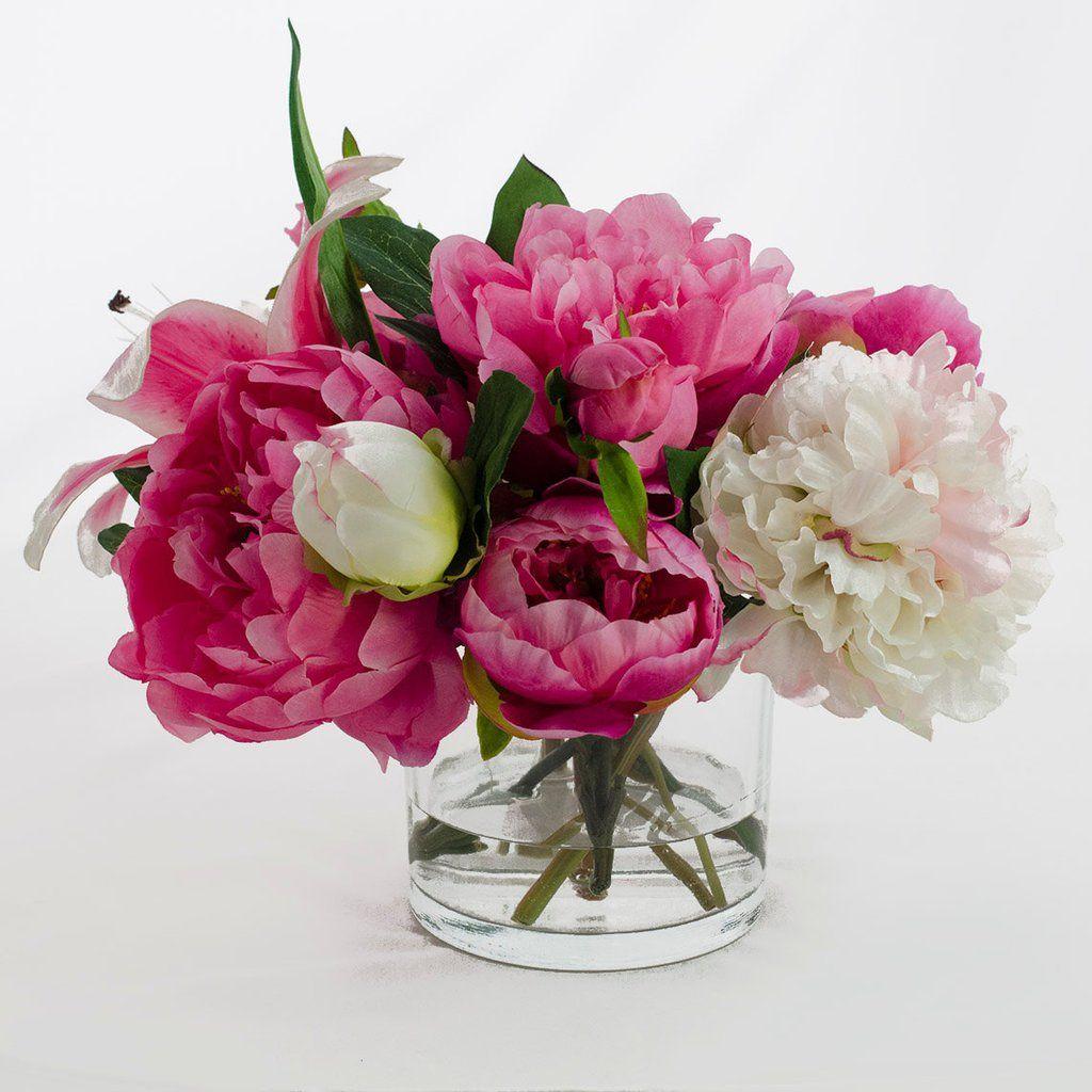Silk Pink Peonies Casablanca Lily Fuchsia Arrangement Pinterest