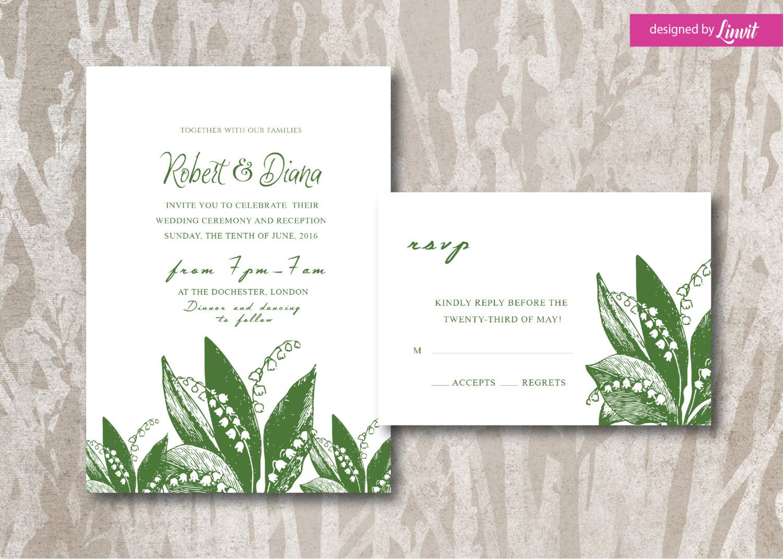 Lily of the valley wedding Invitation-Digital wedding invitation ...