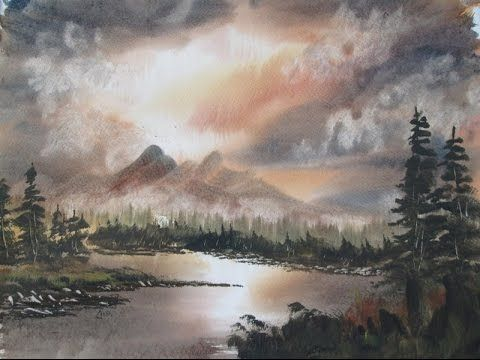 Mountain Sunset Watercolour Painting Demonstration Youtube