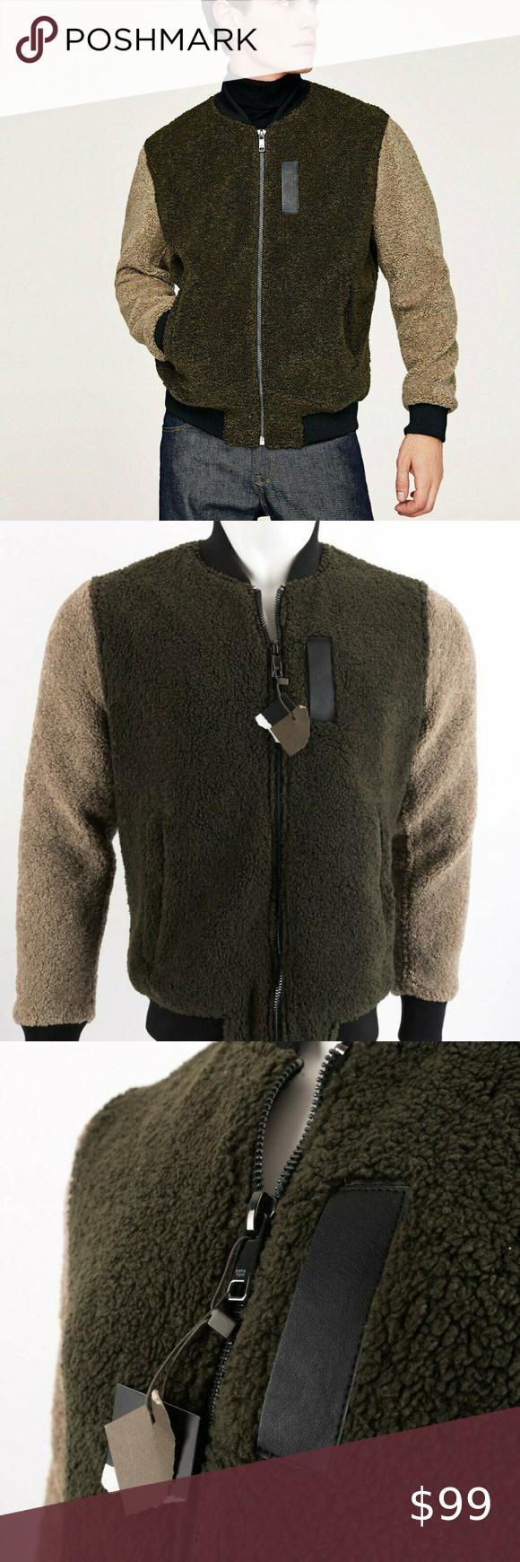 Zara Mens Bomber Jacket Coat Small Fuzzy Green Tan Stylish Bomber Jacket Faux Leather Bomber Jacket Womens Denim Jumpsuit [ 1740 x 580 Pixel ]