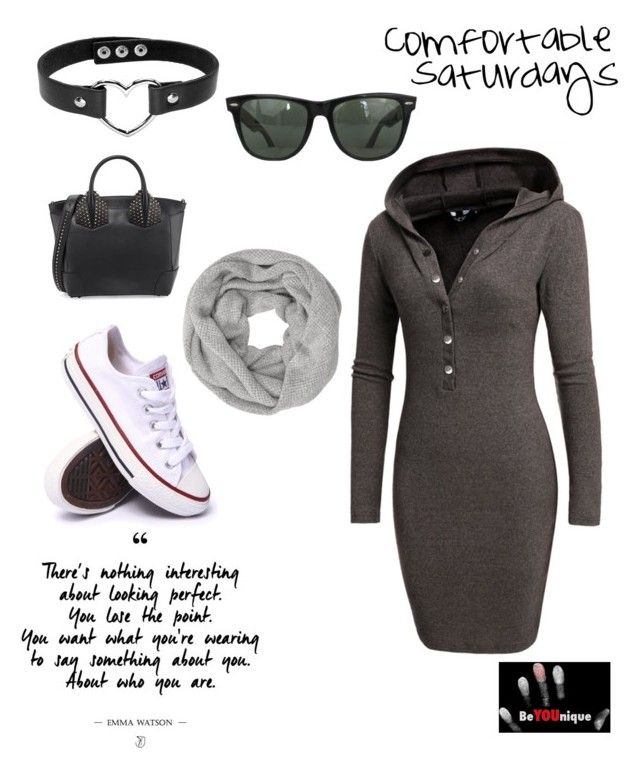 """""""Be you and be comfortable."""" by beyouniquellc on Polyvore featuring Converse, Christian Louboutin, John Lewis and Ray-Ban"""