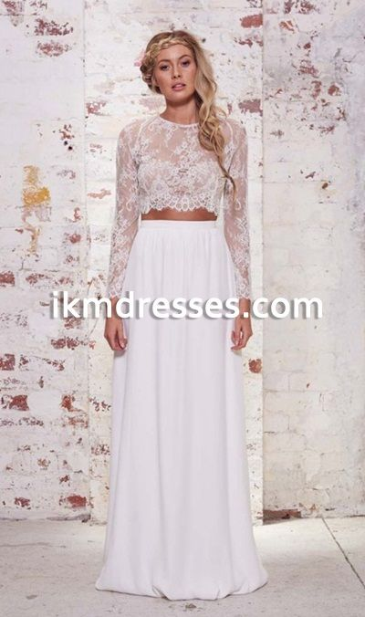 Wedding Dress Lace Long Sleeve Two Piece