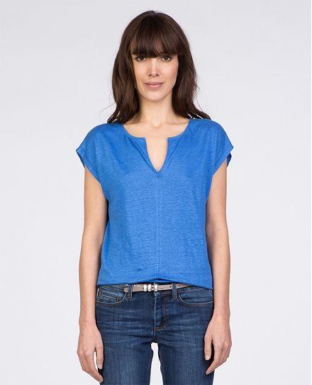 fbd6d8ac709b1 Tee-shirt en lin TOTHILDE - Couleur BLEU CYCLADE