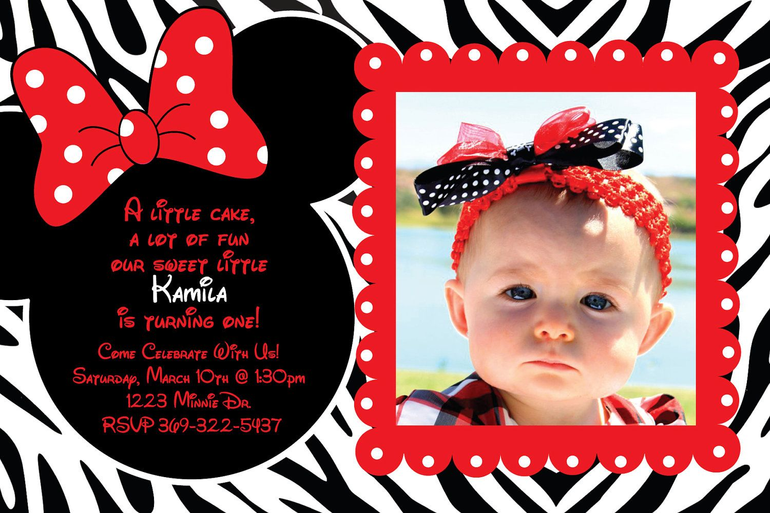 Custom Minnie Mouse Zebra and Red Birthday Party Invitation OR Thank ...