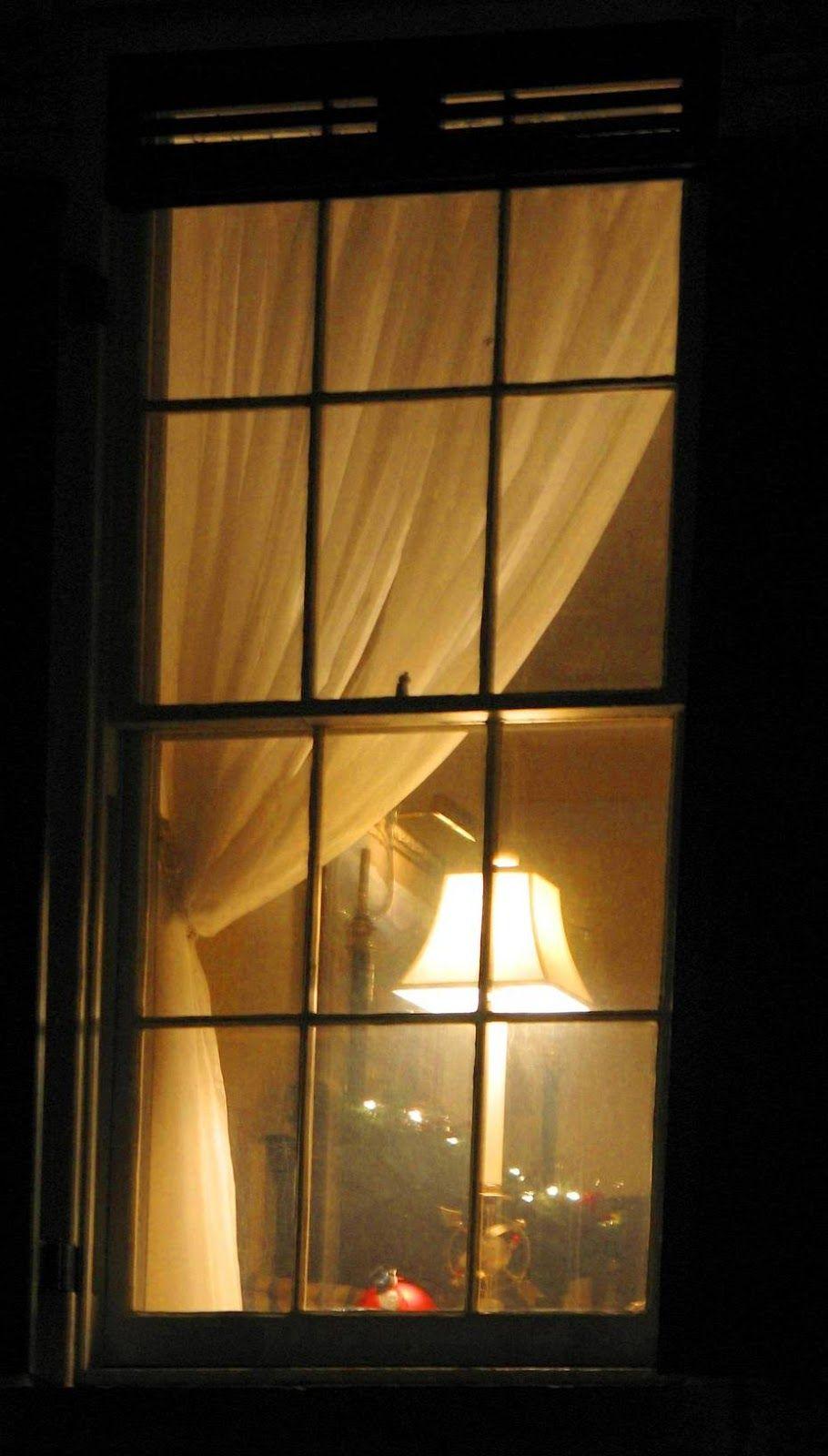 Looking through night windows.... lamp in the window. (chuckmanart ...
