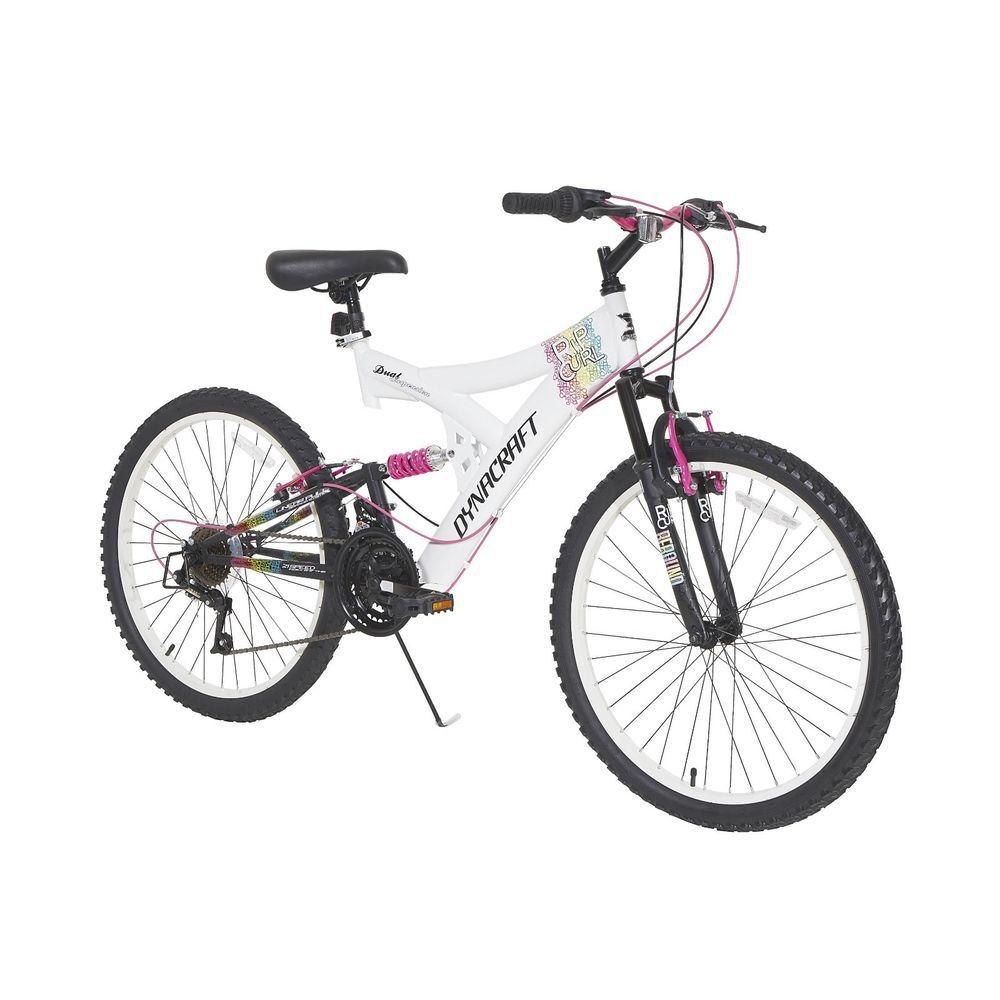 Bikes For Girls 24 Inch Full Suspension 21 Speed Twist Grip Shifting White Dynacraft Mountain Bike Girls Bike Bikes Girls