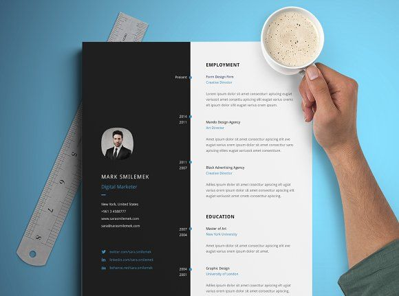 Vertical Resume Template By Graphic Pear On Creativemarket