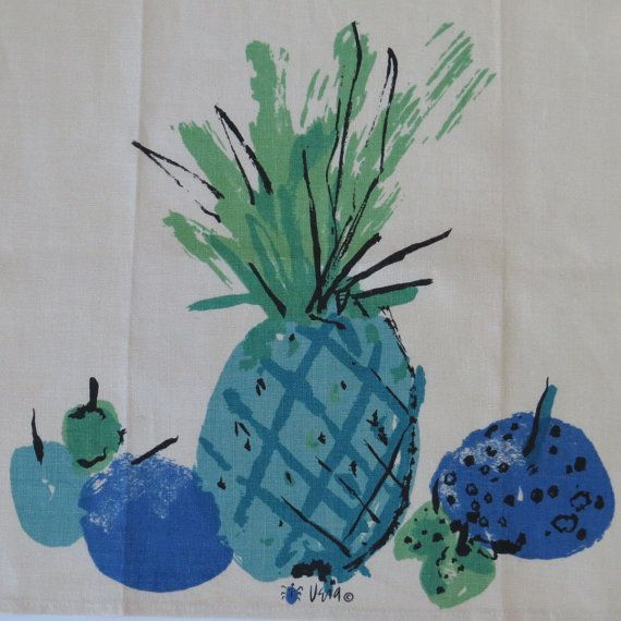 Vintage Vera Neumann Turquoise Blue Pineapple By