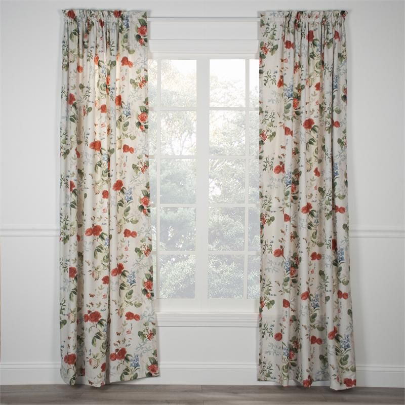 Botanical Floral Curtain Panel Shabby Chic Panel