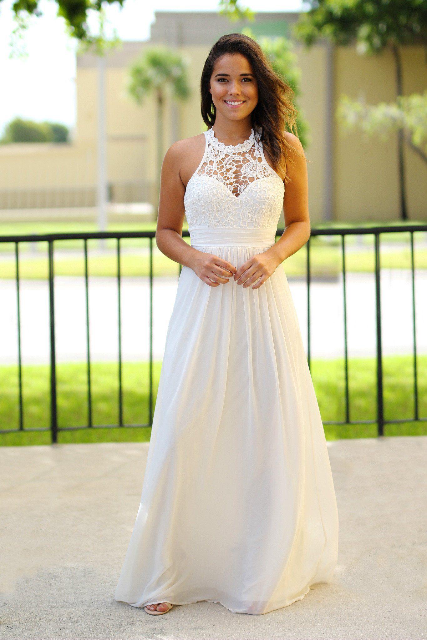 Beige Crochet Maxi Dress | neat future wedding ideas | Pinterest ...
