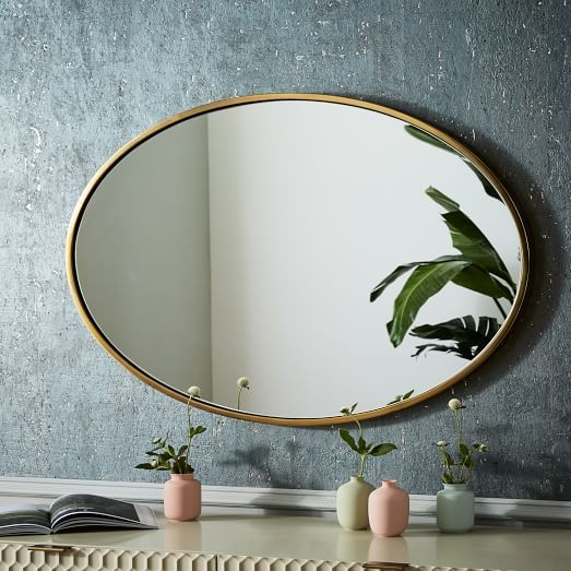 Metal Frame 30 Oval Mirror Antique Brass Oval Wall Mirror Mirror Wall Antique Mirror