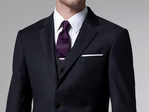 Charcoal Grey With Eggplant Tie Suits Custom Suits Men Custom Suit