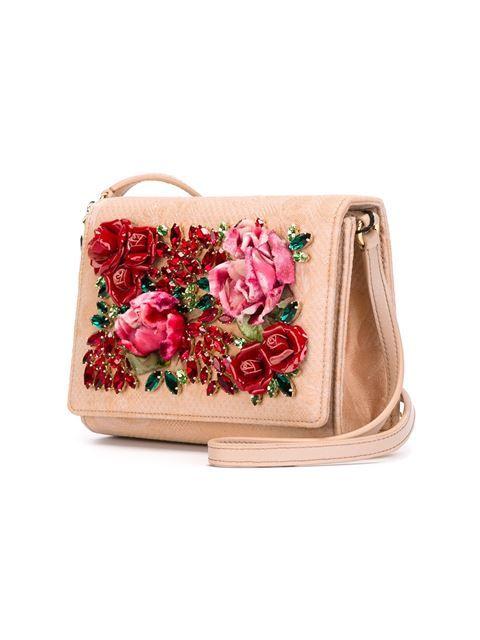 rose embellished crossbody bag