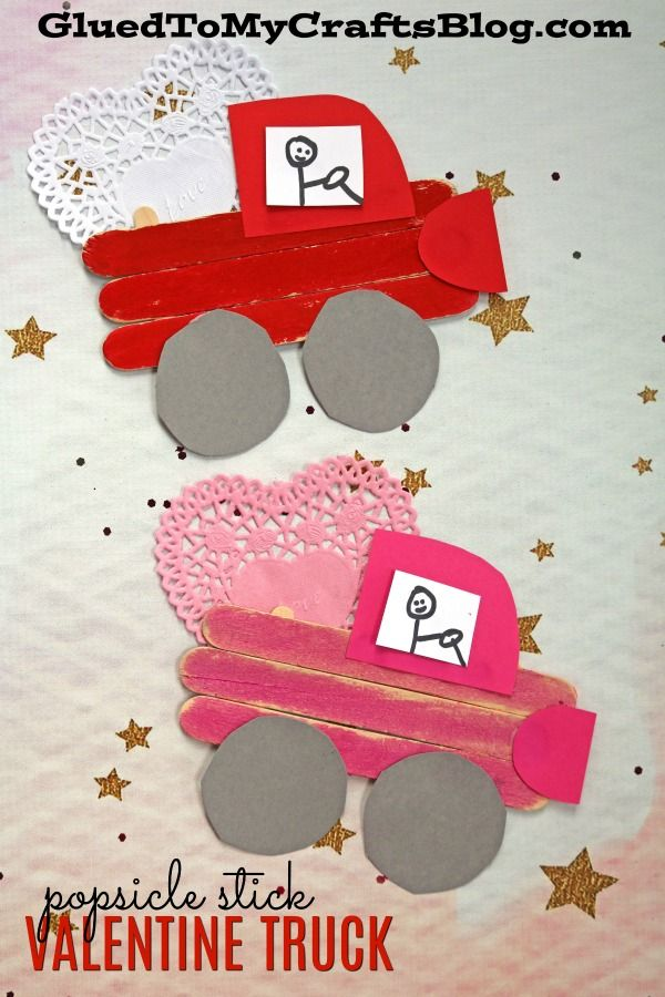 Popsicle Stick Valentine Day's Truck Kid Craft Idea