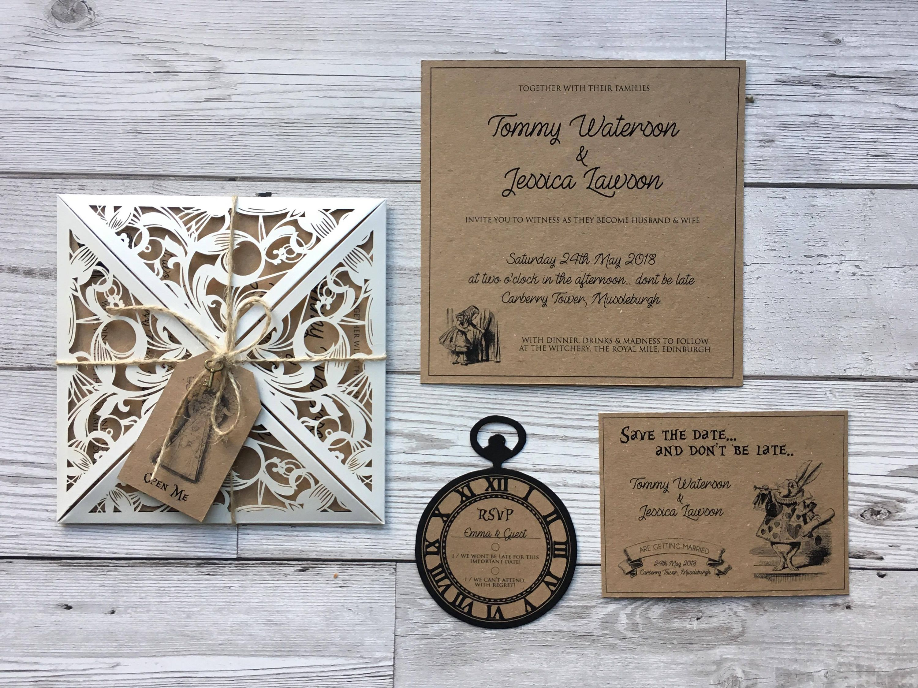 Alice In Wonderland Wedding Invitations Stationery Rustic Invites Quirky