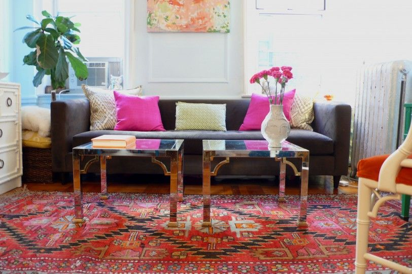 Pink Living Room Design Ideas Furniture Red Motife Carpet Brown Long Sofa Pink Cusion Silver Smal Colourful Living Room Brown Sofa Living Room Pink Living Room