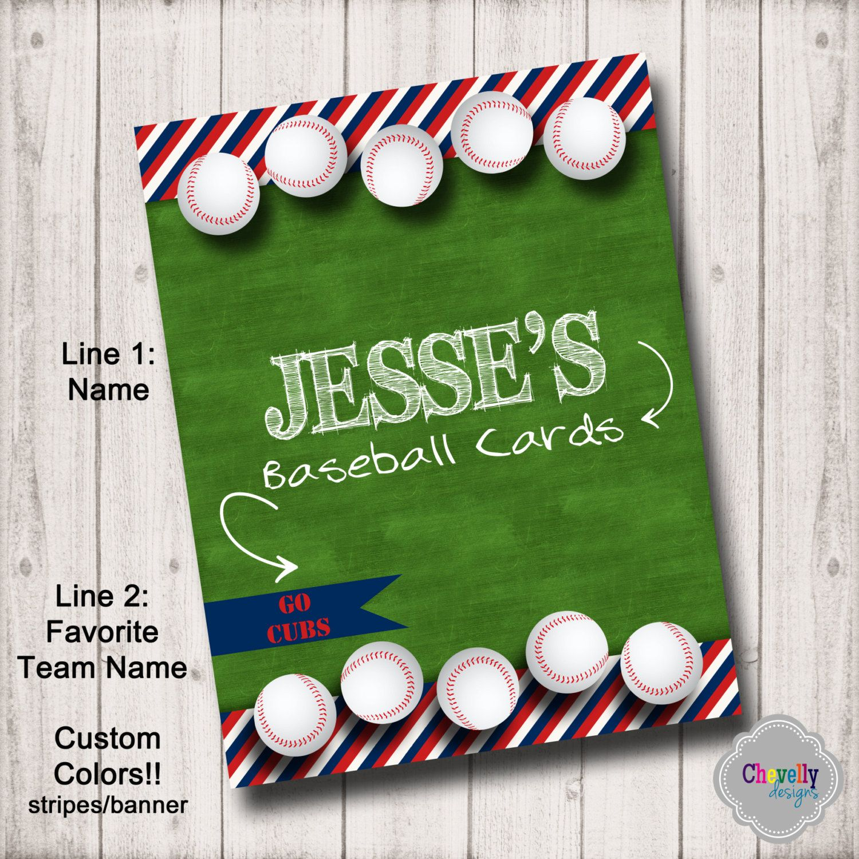 Personalized Baseball Card Binder Insert Printable Digital