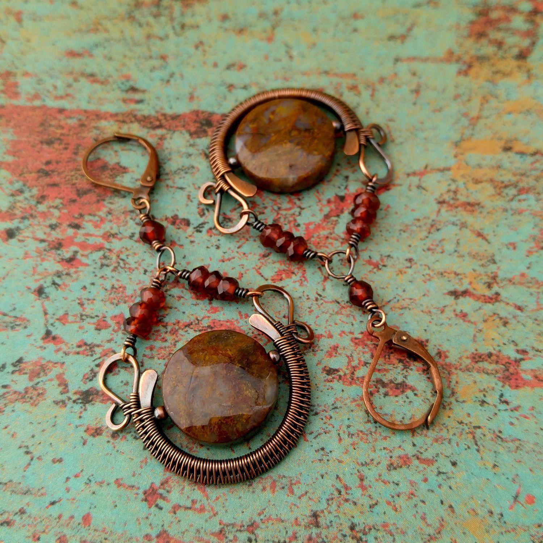 Blood Moon Earrings, Door 44 Jewelry, Copper Chandelier Earrings ...