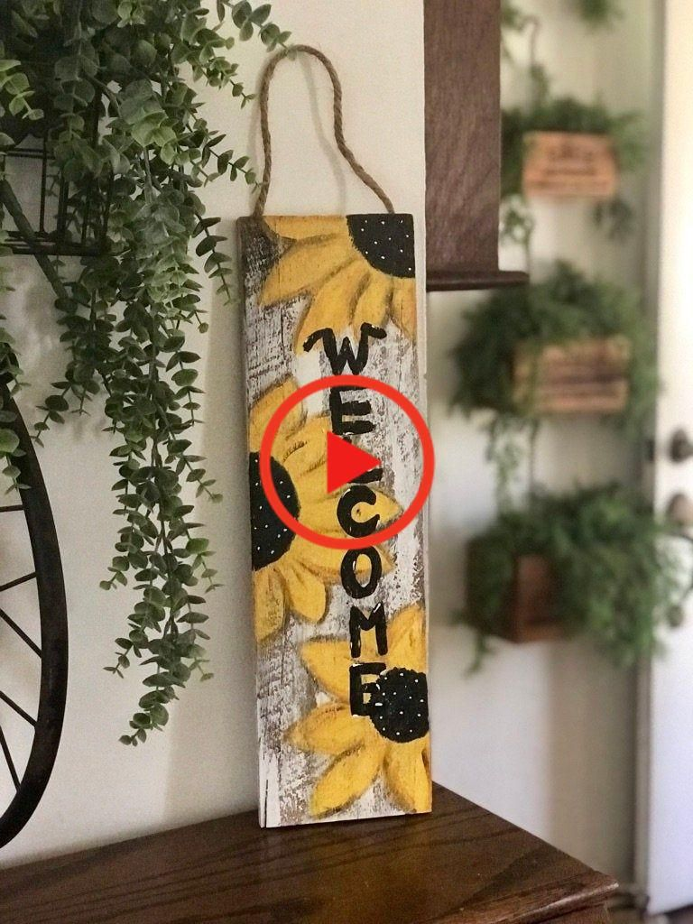 Welcome Sign | Wooden sign | Hand painted | Sunflowers | Home decor | Spring | Summer | Gift #homedecor