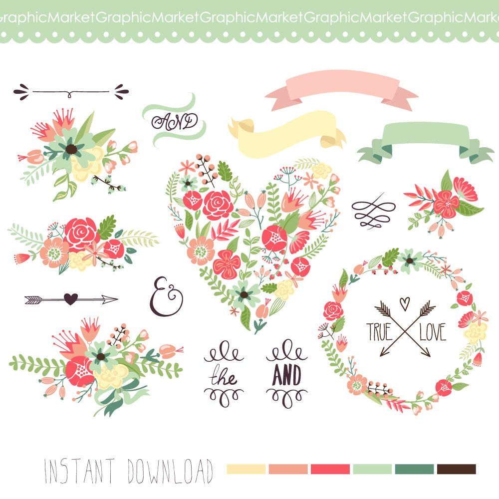 Wedding Floral Clipart Digital Wreath Floral By Graphicmarket