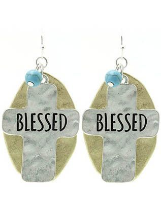 Oval BLESSED cross two tone silver earrings