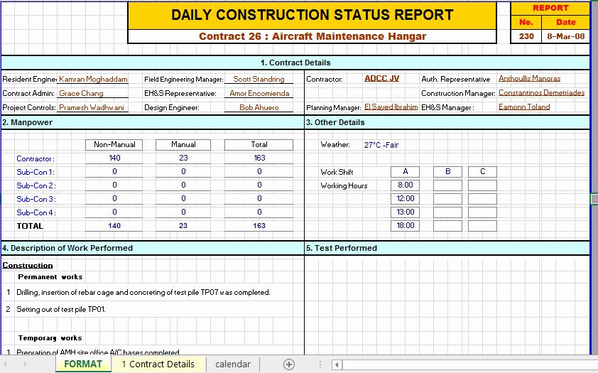 Daily Report Template Excel Lovely Construction Daily Report Template Excel In 2021 Report Template Progress Report Template Progress Report