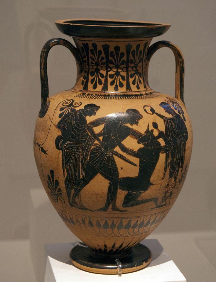 Thesee Tuant Le Minotaure Vase Grec Antique Vers 480 Avant Jc