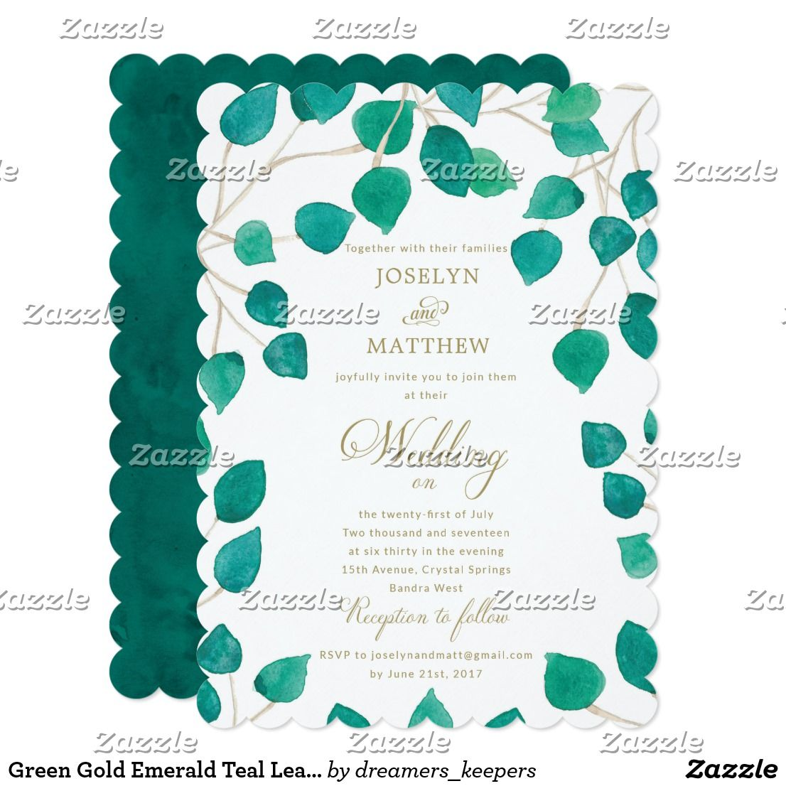Green Gold Emerald Teal Leaves Wedding Invitation Zazzle