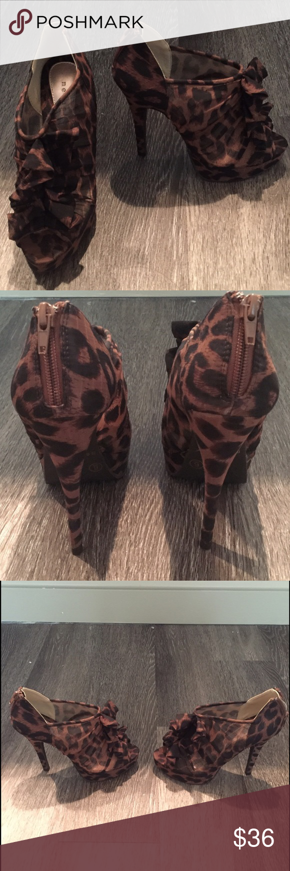 Leopard ruffled booties Never worn outside of store Metaphor Shoes Ankle Boots & Booties