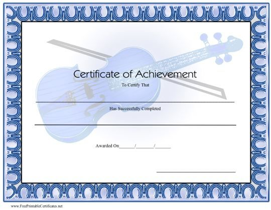 This Printable Certificate Of Achievement Honors Excellence In Music