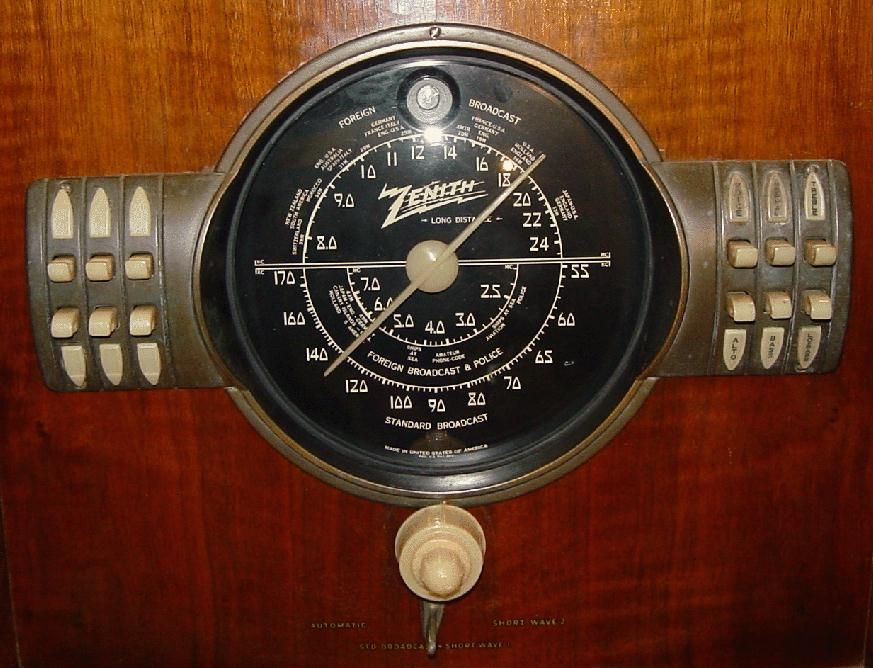 Zenith 7 S 363 Console Radio Dial Face Close Up Cool