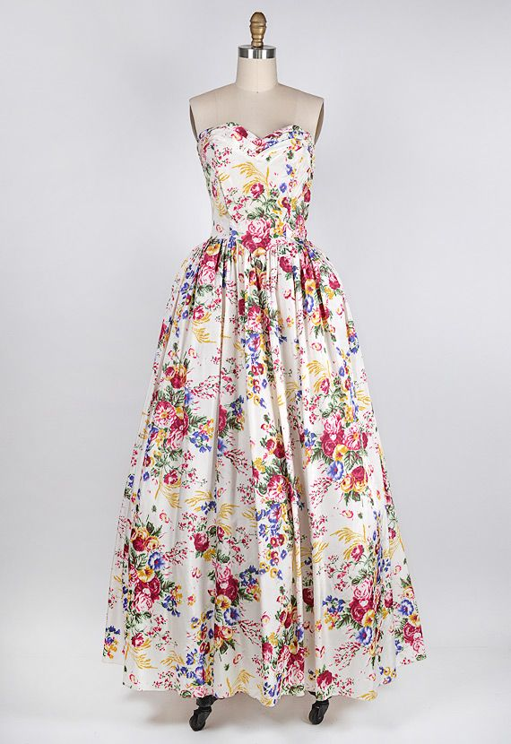 vintage 1950s white silk floral ball gown | Fabulous Frocks ...