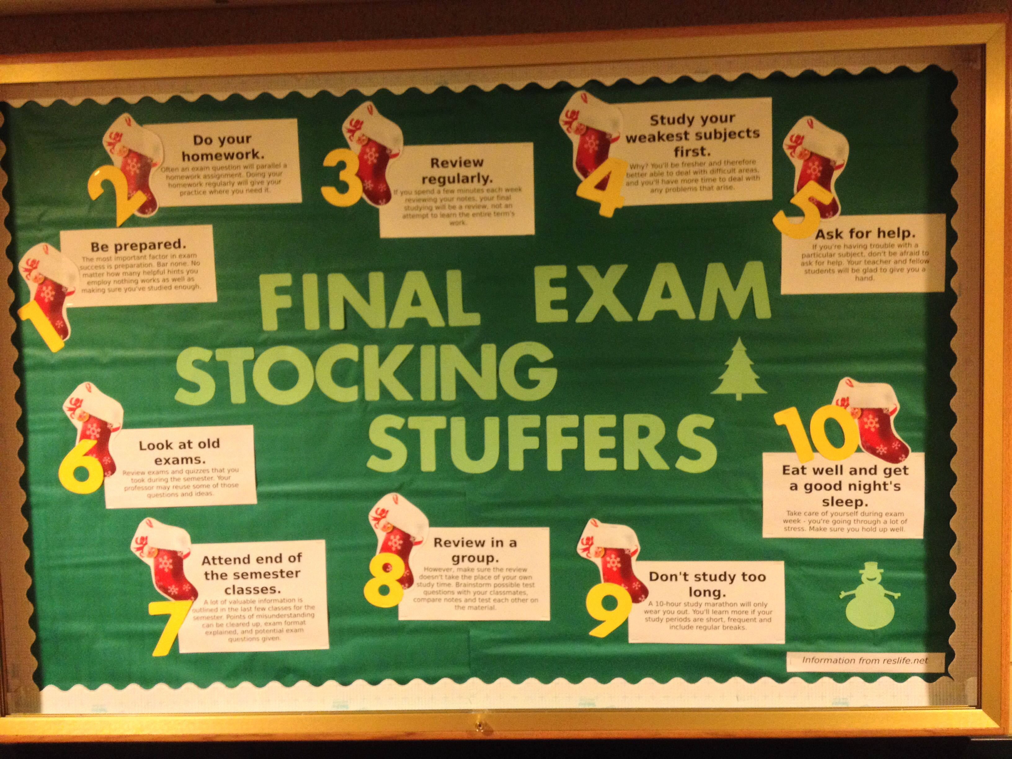 Final Exam Stocking Stuffers Educational Bulletin Board On Study Tips For The Month Of December Idea And Information From Reslife
