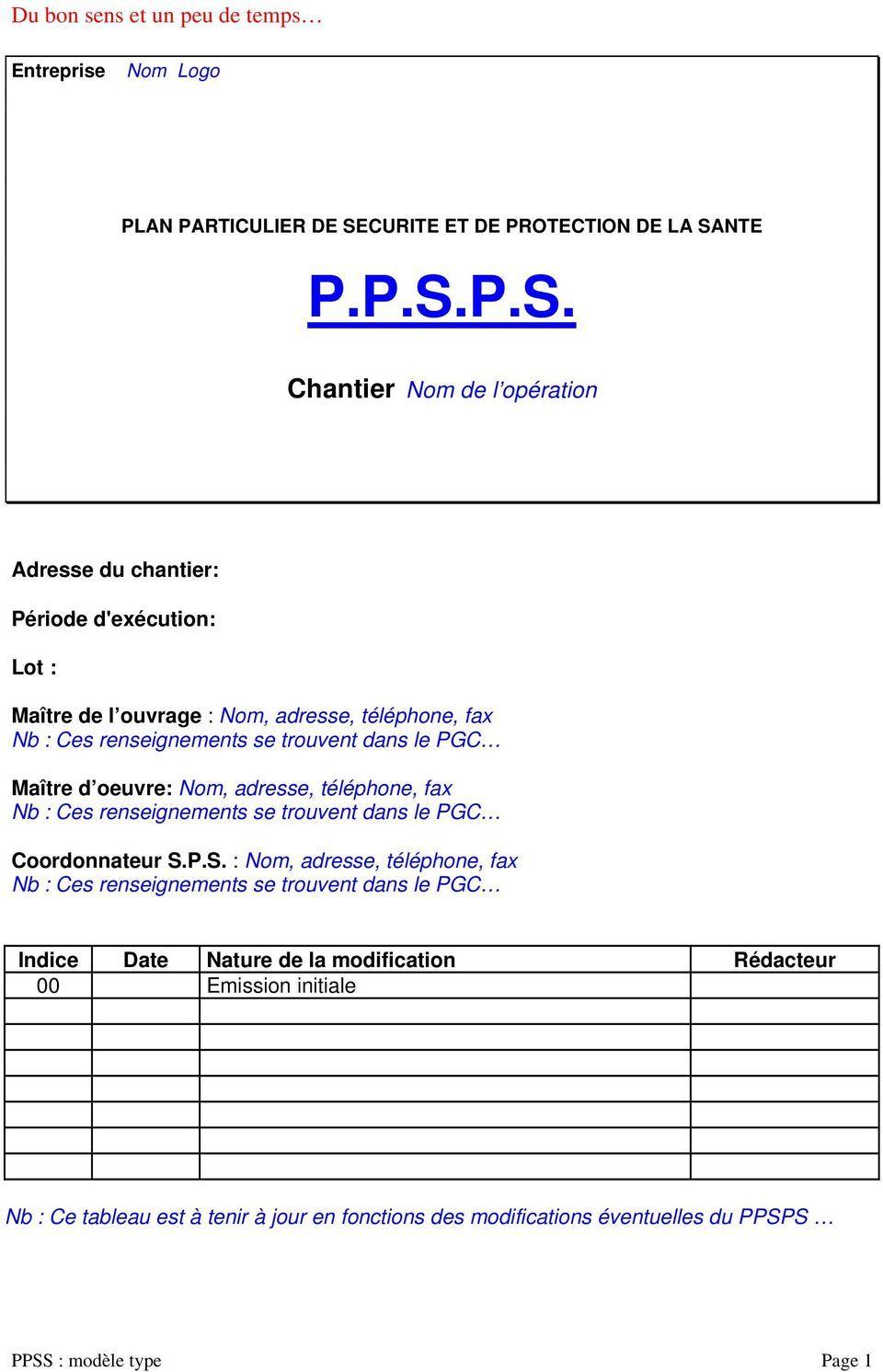 Exemples Ppsps Vierges En Format Word Et Pdf Gratuits à