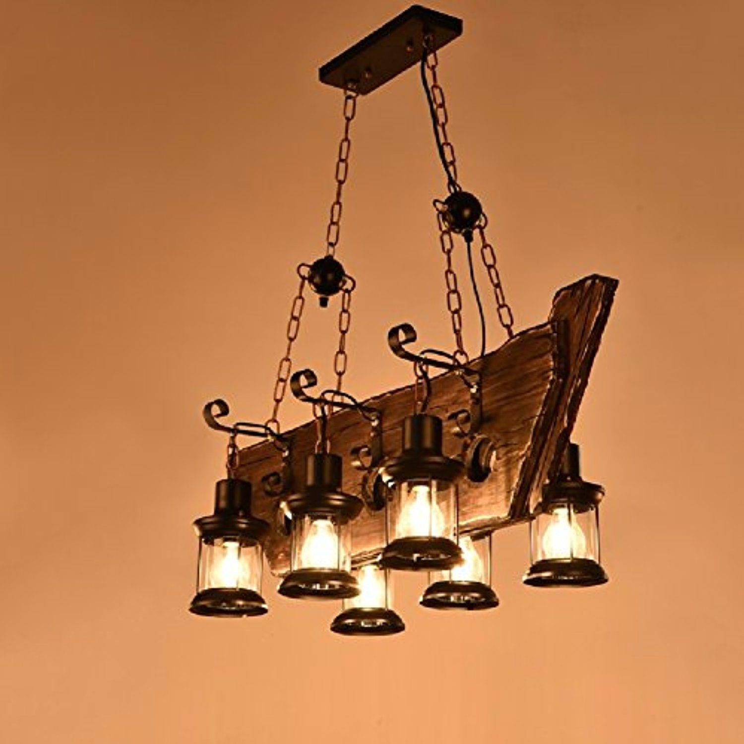 HQLCX Chandelier American style retro industrial wind solid wood