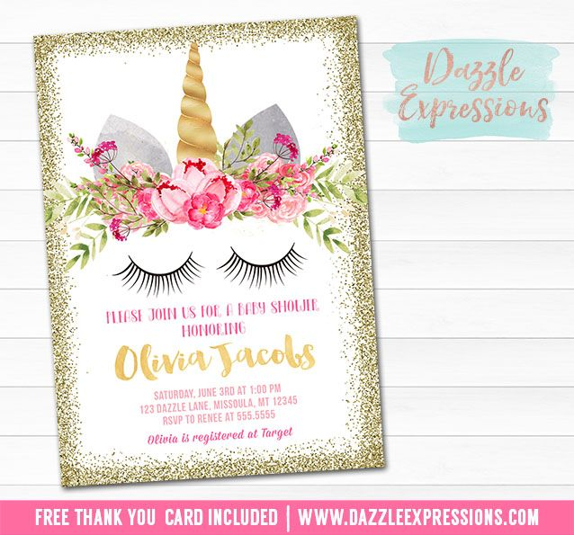 Printable Gold Glitter Unicorn Face Baby Shower Invitation Pink And Blush Fl Girl It S A Favor Tags Cupcake Toppers