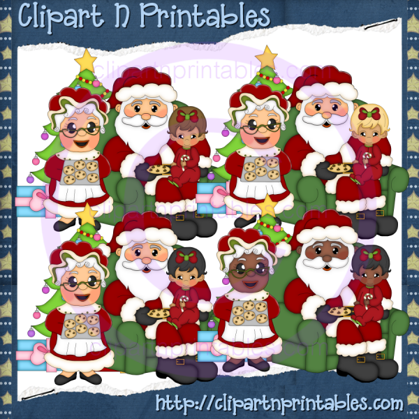 Claus Family 1- #Clipart #ResellableClipart #ResellerClipart #Christmas #Santa #SantaClaus #ChristmasTree #Star #Children #Kids #Chair #Gifts #Presents